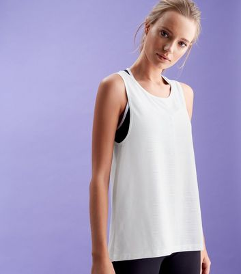 White Sleeveless Open Back Sports Top