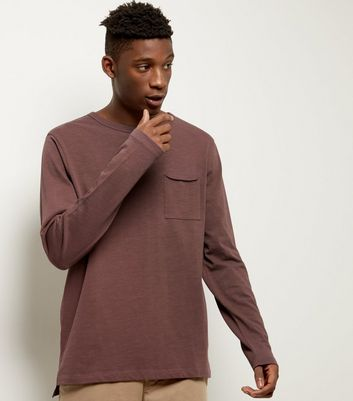 Dark Purple Pocket Front Long Sleeve T-shirt