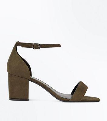 Wide Fit Khaki Suedette Square Toe Sandals