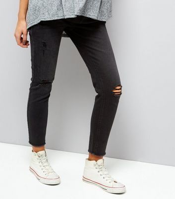 Maternity Black Ripped Knee Under Bump Jeggings