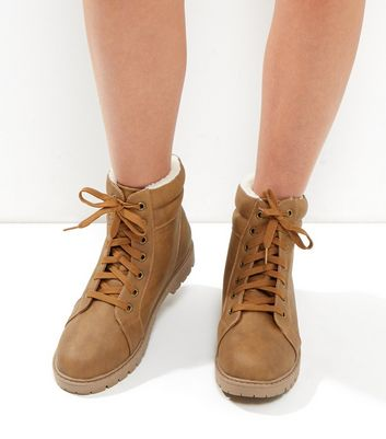 Wide Fit Tan Lace Up Boots