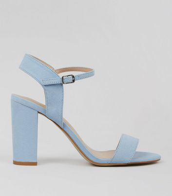 Blue Suedette Block Heel Ankle Strap Sandals
