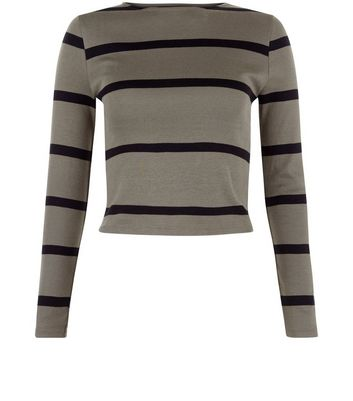 Teens Khaki Stripe Ribbed Long Sleeve Top