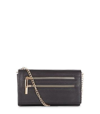 Black Textured Leather-Look Doulbe Zip Clutch