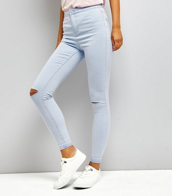 Blue Ripped Knee High Waist Skinny Hallie Jeans