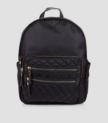 Black Quilted Double Zip Front Backpack
