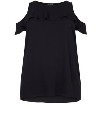 Curves Black Ruffle Fine Knit Shell Top