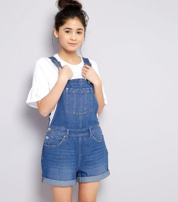 Teens Blue Denim Short Dungarees