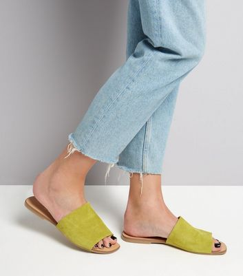 Wide Fit - Mules vertes en daim