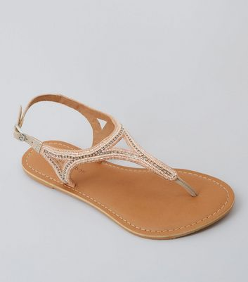 Wide Fit Pink Beaded Leather Sandals