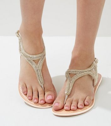 Wide Fit Gold Beaded Leather Sandals