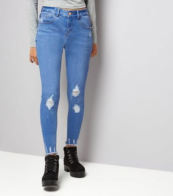 Teens Bright Blue Ripped Fray Hem Skinny Jeans
