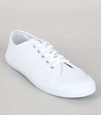 White Lace Up Sport Trainers