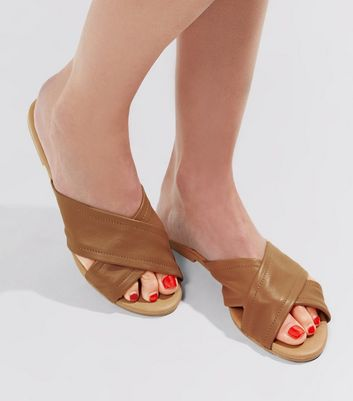 Tan Leather Cross Strap Mules