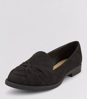 Teens Black Suedette Twist Front School Loafers