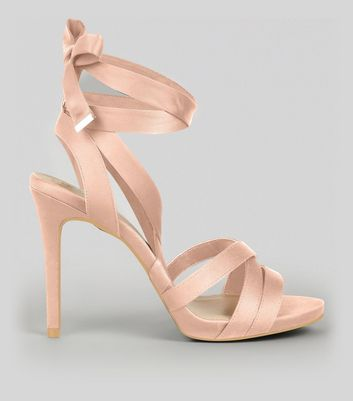 Wide Fit Nude Pink Satin Tie Up Strappy Heels