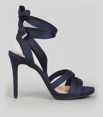 Wide Fit Navy Satin Tie Up Strappy Heels
