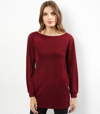 AX Paris Dark Red Bardot Neck Knitted Top