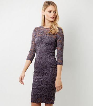AX Paris Purple Lace 3/4 Sleeve Midi Dress