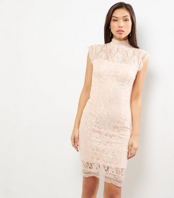 AX Paris Shell Pink Lace Funnel Neck Sleeveless Dress