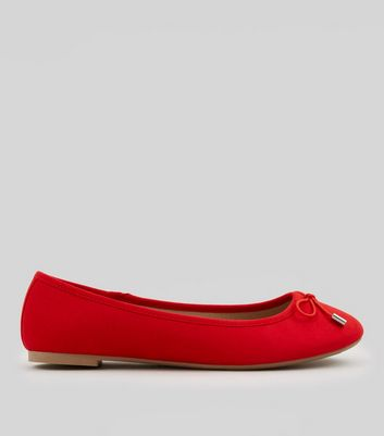 Red Suedette Ballet Pumps