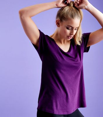 Dark Purple Bar Back Mesh Sports T-Shirt