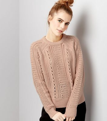 Pink Stitch Trim Long Sleeve Jumper