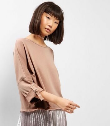 Stone Batwing Roll Sleeve Sweater