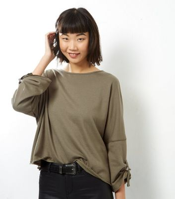 Khaki Batwing Roll Sleeve Sweater