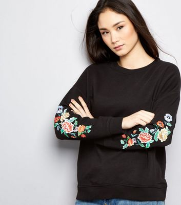 Black Floral Embroidered Long Sleeve Sweater