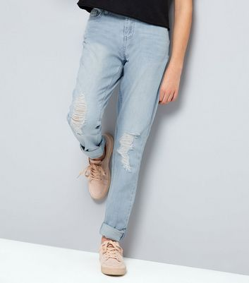 Teens Blue Ripped Knee Rolled Hem Skinny Jeans