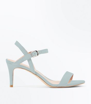 Mint Green Suedette Low Heeled Sandals