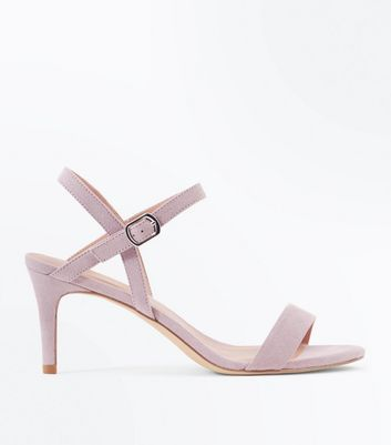 Lilac Suedette Low Heeled Sandals