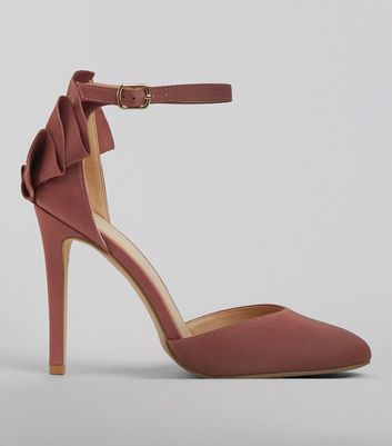 Pink Satin Frill Trim Ankle Strap Heels