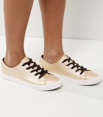 Gold Contrast Lace Up Trainers
