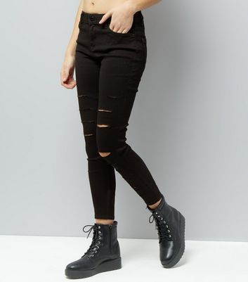 Black Extreme Ripped Super Soft Super Skinny India Jeans