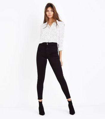 ... Black Super Soft Super Skinny High Waist Hallie Jeans