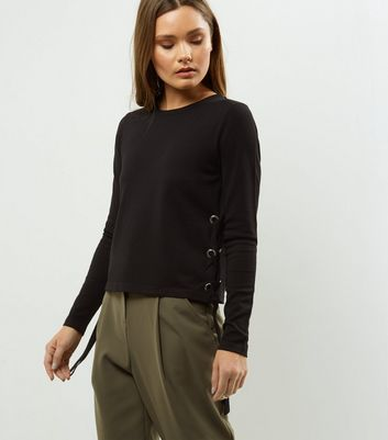 Black Eyelet Trim Side Jumper