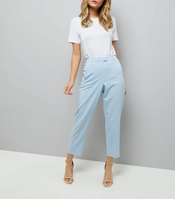 Pale Blue Slim Leg Cropped Trousers
