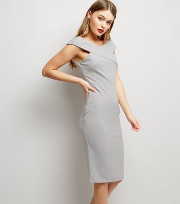 AX Paris Silver Cross Front Midi Dress