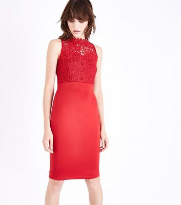 AX Paris Red Lace Bodice Midi Dress