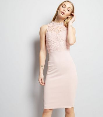 AX Paris Pink Lace Neck Midi Dress