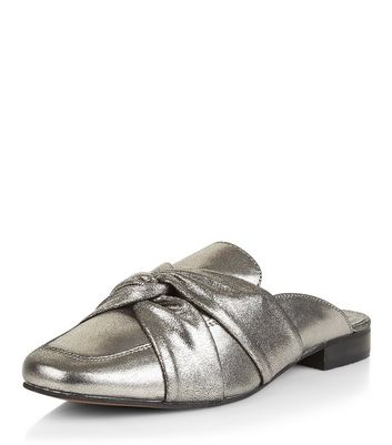 Silver Leather Twist Front Mules