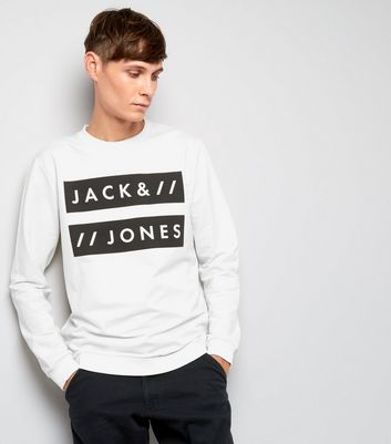 Jack & Jones White Crew Neck Sweater