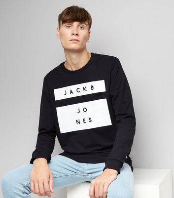 Navy Premium Jack & Jones Box Print Sweater