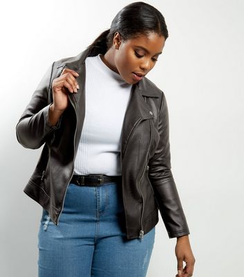 Curves Black Leather-Look Jacket