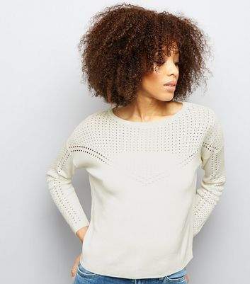 Cream Mesh Cut Out Panel Long Sleeve Jumper