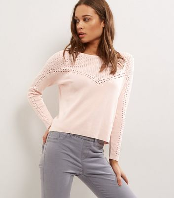 Pink Cut Out Mesh Panel Long Sleeve Jumper