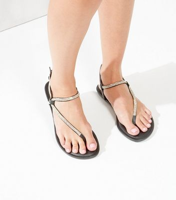 Black Leather-Look Embellished Trim Flip Flops