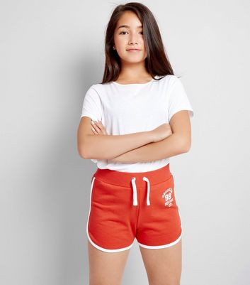 Teens Red Brooklyn 98 Print Shorts
